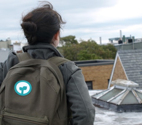 Sprout Up NYC's Fiona Conway with iron-on patch