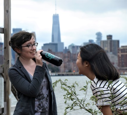 Sprout Up NYC's Fiona Conway and Janice Fong with water bottle